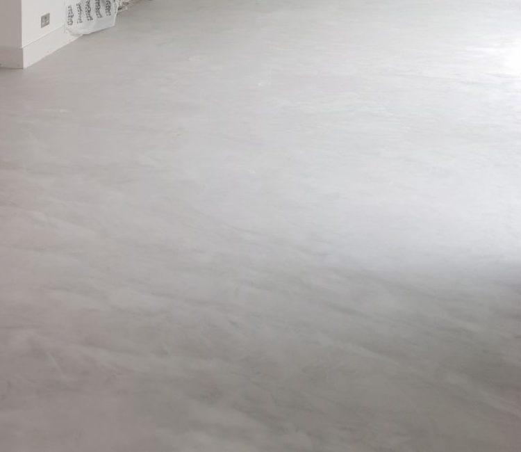 light grey microcement flooring