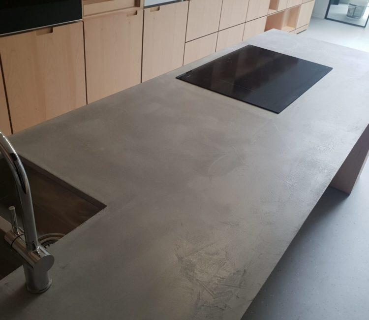 Grey microcement on a kitchen worktop